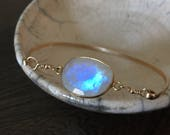 Gift for Her /Gold Bracelet / Moonstone Gold bracelet / Bangle / Bridesmaid Gift  / Unique Gift / Bridal Jewelry / Anniversary