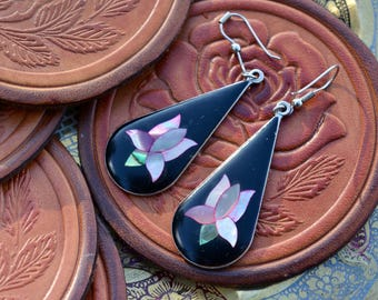 Long vintage lotus earrings enamel and shell inlay drop shaped onyx black and pearly shell flower yoga spiritual