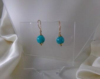 Amazonite 14k gold filled earrings with vermeil caps gemstone handmade item 920