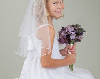 1st Communion   Flower Girl Veil with Pearl Edge