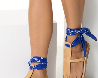 "T-strap sandals in 6 colors with a set of 5 interchangeable bandana laces included! Low wedge sandals ""Helena"" NEW SS17 Free Shipping"