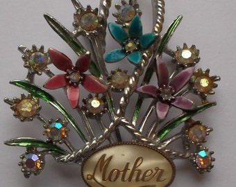 """Vintage 1950s """"Mother"""" Floral Spray Brooch with Seed Pearls - fab gift"""