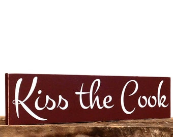 Kitchen sign - kiss the cook - kitchen decor wall hanging - wall hanging sign