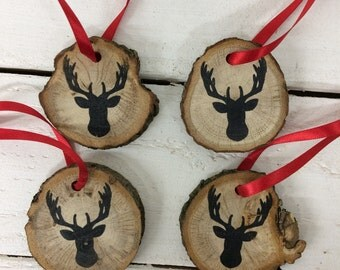 Rustic Wood Christmas Decorations - log slice decorations - woodland christmas - hanging decorations - christmas in july - stag