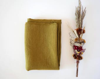 Linen fabric by the yard, for bedding, curtains, green linen fabric may be used for upholstery, linen material, stonewashed linens