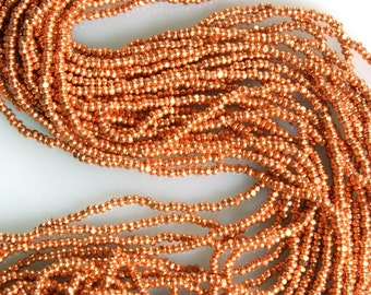 Copper Charlottes Size 13/0 Czech 1 Full Hank 12 - 20 inch Strands
