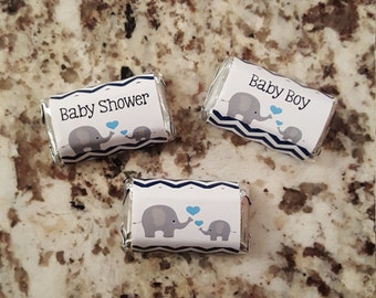 Elephant Baby Shower Mini Candy Bar Wrappers mms001