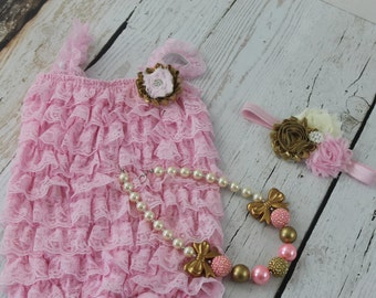Pink Lace Romper Outfit 1st Birthday Outfit Bubble Gum Chunky Necklace Pink Gold Bow Headband Pink Romper Set Baby Girl Cake Smash Outfit
