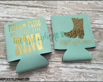 Final Fling Before the Ring Can Cooler - Bachelorette Party Can Sleeve - Personalized Custom Coolie - Last Fling Beer - 13 Colors Available!