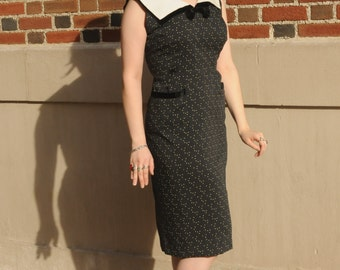 1950s Classic Hourglass Black Dress w/ White Polka Dots & Sailor Inspired Collar and Pockets 34 Waist