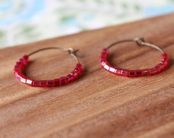 pink raspberry czech glass hoop earrings