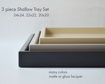 Large Ottoman Tray Set, Coffee Table Trays, Square Ottoman Tray for Coffee Table, Shallow Serving Tray