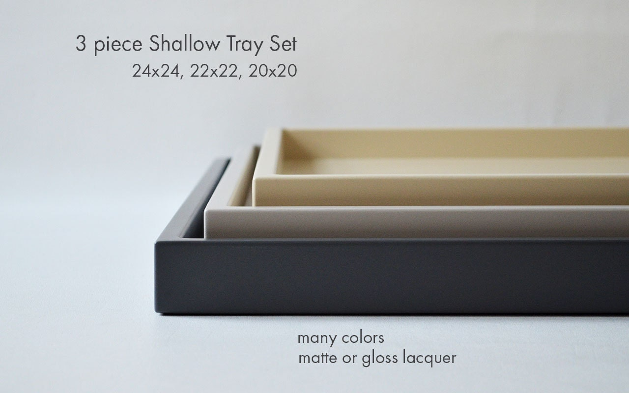 Large ottoman tray set coffee table trays 3 piece shallow for Shallow coffee table