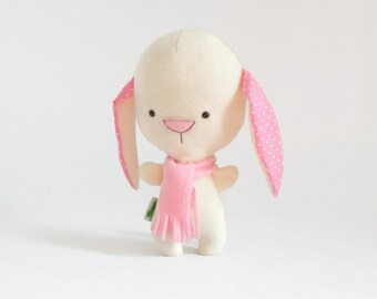 Cute Stuffed Bunny, White Bunny Plush, Bunny Rabbit Plushie, Rabbit Stuffed Animal, Baby Toy, Stuffed Toy, Stuffed Animal for Babies, Plush