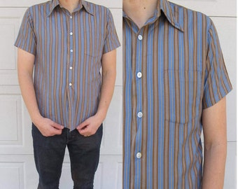 """1970s mens vintage button down shirt, blue with mustard yellow and brown stripes, L, 16-16.5"""""""