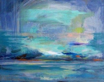 Blue Arc Abstract, Giclee