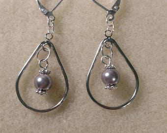 MADE TO ORDER!!! Silver Colored Tear Drop Pearl Earrings-- Made to Order with your pearls from the Pearl Party!!