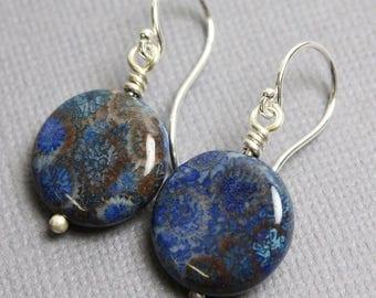 Blue Fossil Coral Earrings, Coral Earrings, Blue Earrings, Fossil Earrings, Blue Coral Earrings, Beach Jewelry, Ocean Jewelry,Kathy Bankston