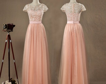 Blush Tulle Lace Bridesmaid Dress, Round Neck Short Sleeves Full Tulle skirt with Ruching,Floor Length Elegant Dress,Prom Dress,Party Dress