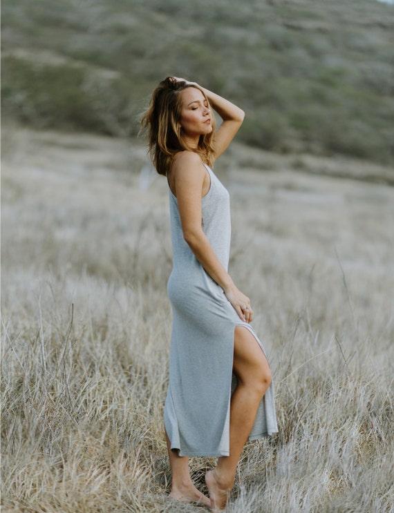 Molly Racerback Side Slit Midi Dress / Heather Gray Jersey