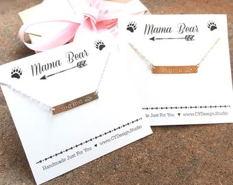 Mama Bear Necklace - Hand Stamped Bar Necklace - Simple Jewelry - Personalized Initial Necklace - Mother's Day Jewelry - Gift for Her