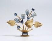 Krementz Brooch, Krementz Basket Pin, Krementz Jewelry, Flower Basket Pin, Vintage Krementz Art Deco Moonstone Flower Basket Brooch Pin
