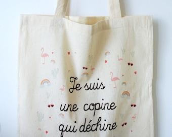 "Tote bag ""I'm a friend who rocks"" - gift best friend BFF"