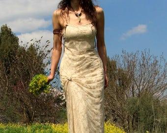 Summer wedding dress. rustic wedding dress. bridal gown. lace wedding dress. boho wedding dress. beach wedding dress.open back wedding dress