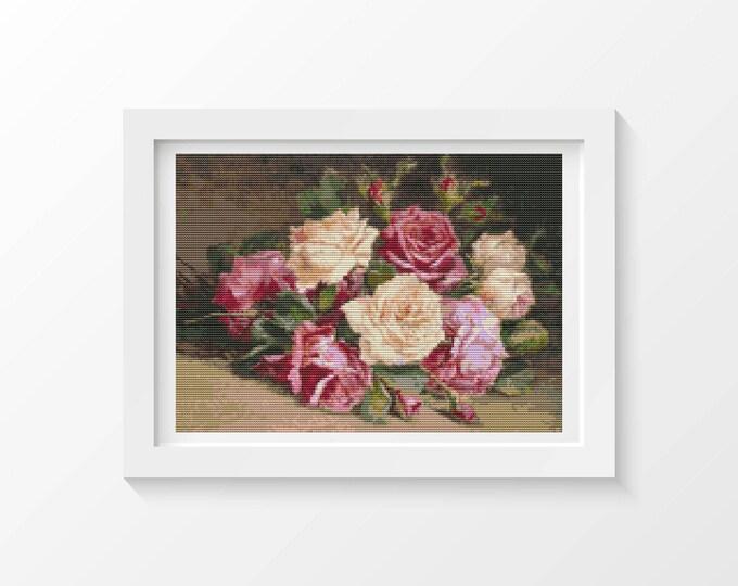Cross Stitch Pattern PDF, Embroidery Chart, Art Cross Stitch, Floral Cross Stitch, Bed of Roses (UNKNO03)