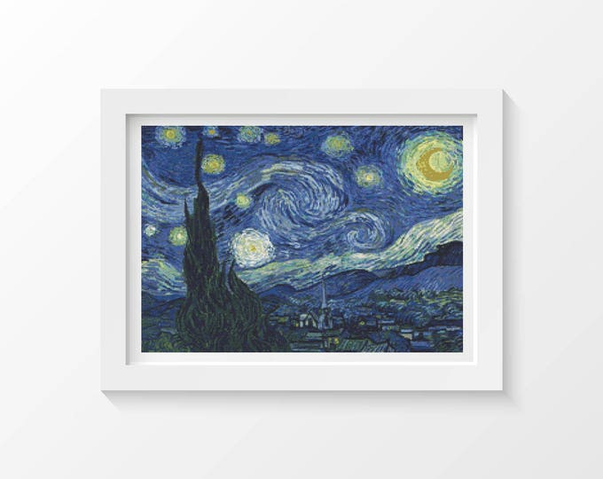Cross Stitch Pattern PDF, Embroidery Chart, Scenery Cross Stitch, The Starry Night by Vincent van Gogh (VGOGH07)