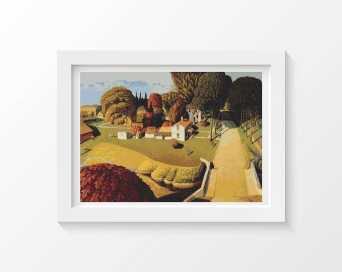 Birthplace of Herbert Hoover by Grant Wood, Landscape Cross Stitch Chart, Art Cross Stitch (WOOD01)