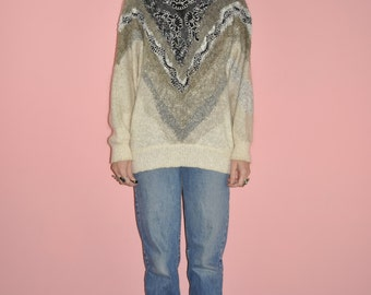 Vintage 80s Cream Black V Batwing Oversized Textured Pattern Hipster Sweater