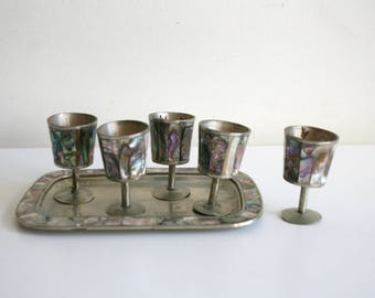Abalone Mexican Silver Cordial Set
