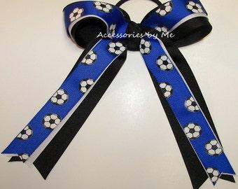 Blue Soccer Bow, Royal Black Soccer Clip, Royal Blue Black Soccer Ball Hair Ties, Blue Soccer Ribbon Elastic, Team Bulk Lot Soccer Hair Bows