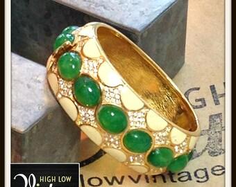 Vintage Ciner Ivory Gold Green Enamel Bangle Bracelet FREE SHIPPING