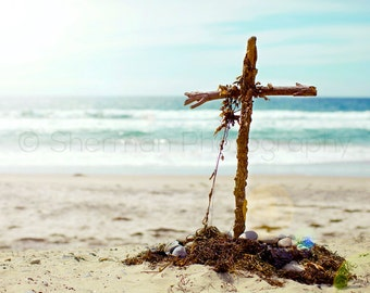 Beach Cross Photo Ocean Print - 8x10 8x8 10x10 11x14 12x12 20x20 16x20 - Photography