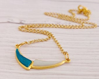 Delicate Gold Necklace/ Gold And Turquoise Necklace/ Gold Polymer Necklace/ Gold Geometric Necklace - Urban Desire