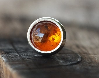 4mm Baltic Amber Piercing Stud - For Nose, Tragus, Conch, Helix & Labret Piercings, Gemstone Body Jewelry - 18g and 16g Pushfit Backings