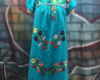 Ladies Blue Embroider Mexican Dress
