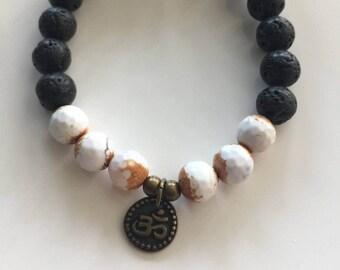 Rustic Agate Om with Lava Essential Oil Diffuser Yoga Semi Precious Stone Bracelet