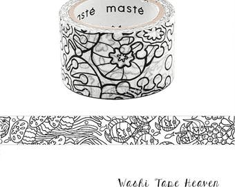 NEW Masté for Coloring Japanese Washi Tape - 25mm x 5m - Tropical Fish Aquarium Sea Life