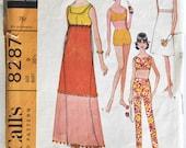Vintage 1960s Women's Bikini Swimsuit, Pants, and Dress Sewing Pattern Size 9 McCall's 8287