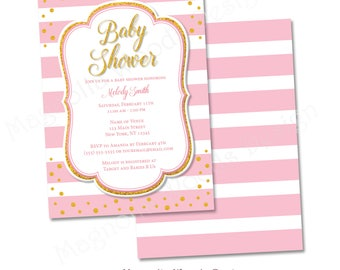 Pink and Gold Baby Shower Invitation, Girl Baby Shower Invitation, Pink Striped Baby Shower Invitation - Printable Digital File