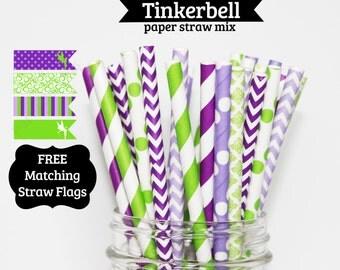 50 Tinkerbell Paper Straws  Inspired lavender lime green purple Stripe paper straws wedding birthday bridal shower baby  Bonus DIY Flags