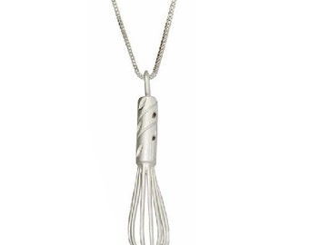 Kitchen Whisk Cooking with Mom Pendant Necklace in Sterling Silver 18 Inches