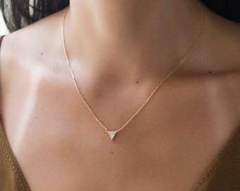 Triangle Crystal Necklace, Tiny Gold Necklace, Delicate Gold Crystal Necklace, Dainty Gold Triangle Necklace, Minimalist Necklace, N341
