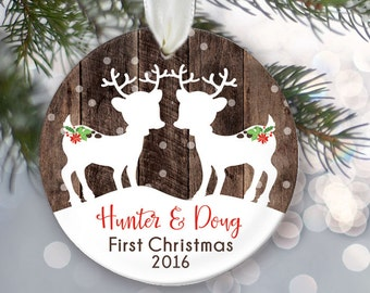 TWIN Babies First Christmas Ornament, Personalized Christmas Ornaments, Fawns Ornament, Two kids Deer Ornament, Rustic faux fake wood OR364
