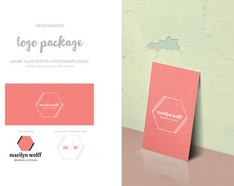 Logo Package - Hex in Line // DIY Photographer Logo and Branding Package // INSTANT DOWNLOAD ***Adobe Illustrator & Photoshop File***