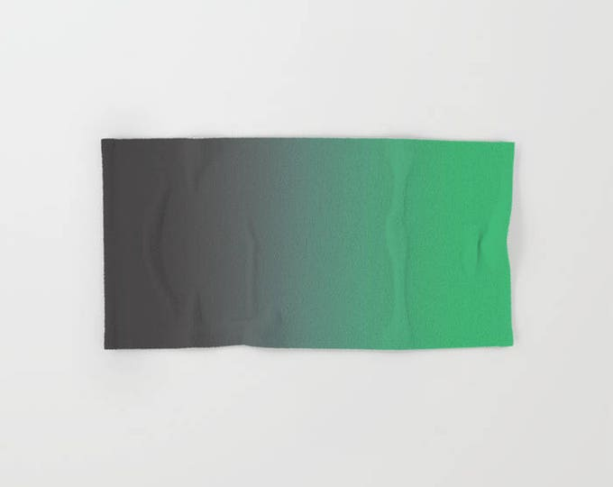 Hand Towels - Gray to Green Ombre - Bathroom Hand Towel - Microfiber - Cotton Terry Cloth - Made to Order