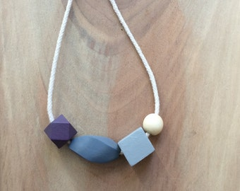 Purple Wooden Bead & Rope Necklace